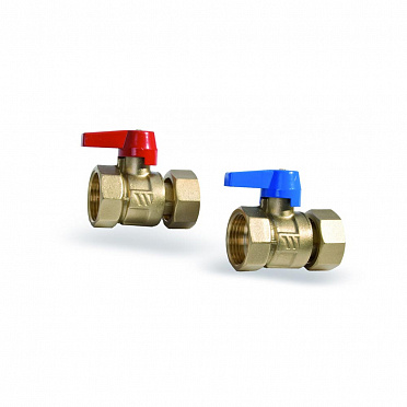 "KH Ball valve set brass body 1"" with union nut and gaskets"